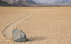Rocks like this one can travel more than 100 yards across the floor of Death Valley.