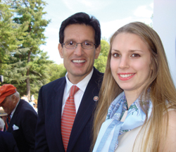 Hadley Nagel with Rep. Eric Cantor of  Virginia. Photo Courtesy of Hadley Nagel