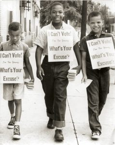 These boys were part of a voter registration drive in Richmond, Virginia. Photo courtesy of the Afro-American Archive